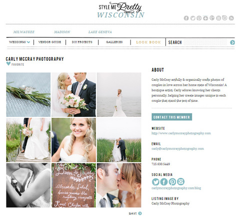 Carly McCray Photography on Style Me Pretty Little Black Book Member , Wisconsin Fine Art Wedding Photographer